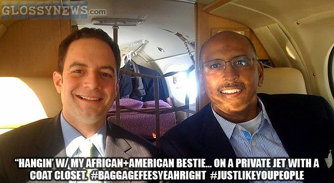 ABOVE: Reince Priebus seen her with his black best friend. Photo shows that Republicans really understand the struggle of black Americans, specifically those who can only pack several hundred pounds of luggage in their en-suite coat closet.